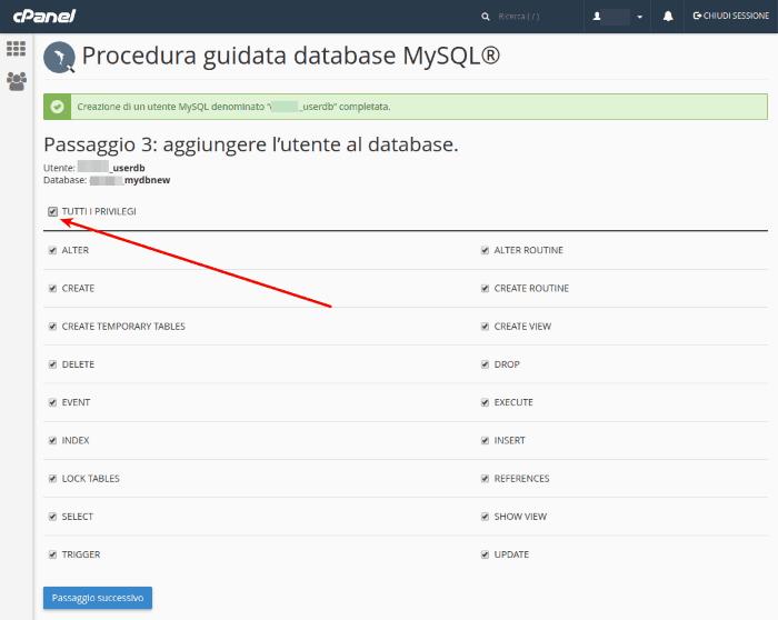 Associare il database all'utente che appena creato