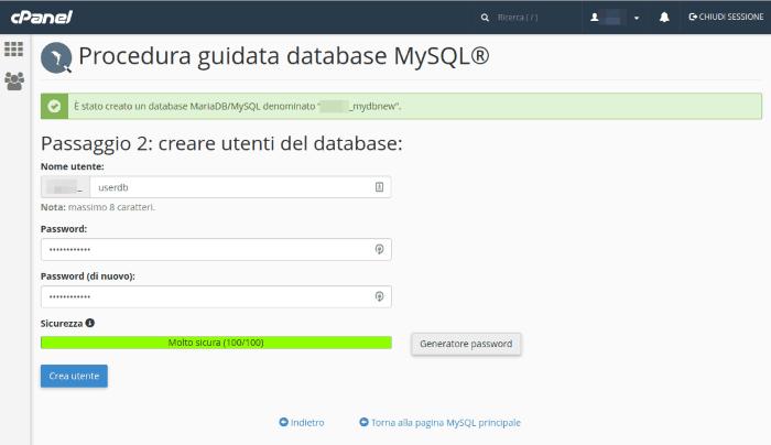 Crea l'utente per il database