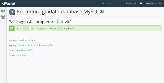 Creazione del database MySQL completata