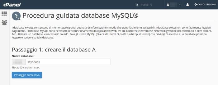 Creazione del database MySQL