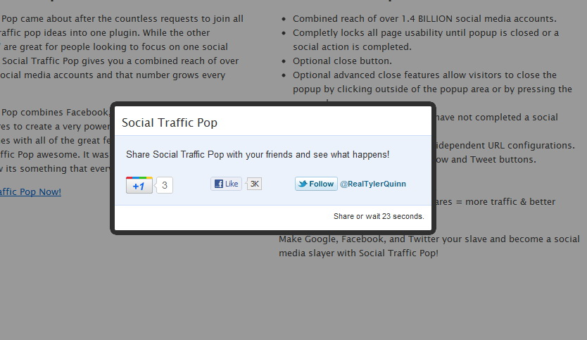 Social Traffic Pop per WordPress