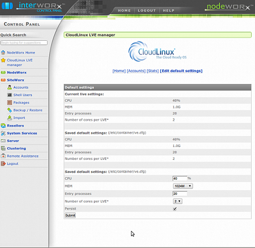 CloudLinux LVE Manager
