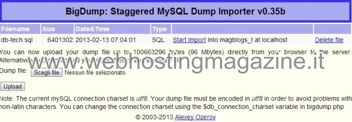 Importare Database MySQL con BigDump
