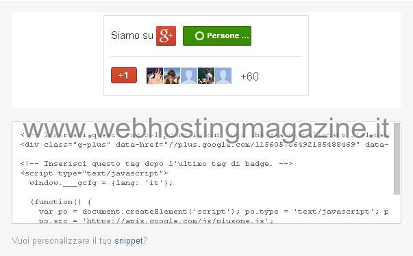 Anteprima del badge di Google Plus