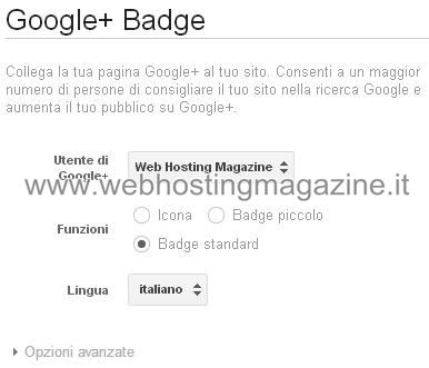 Come inserire il badge di Google Plus