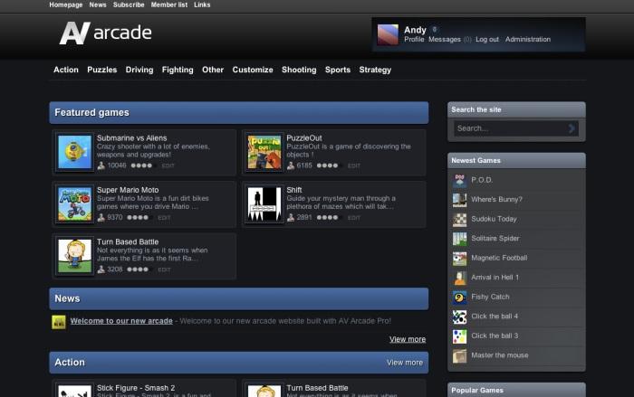 Av Arcade: Creare sito di giochi online