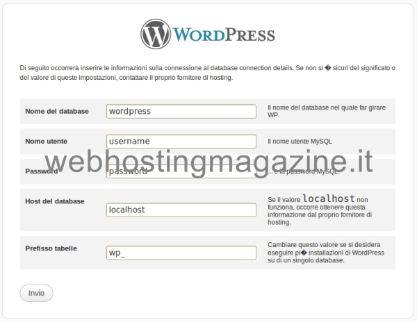 Schermata configurazione database di WordPress