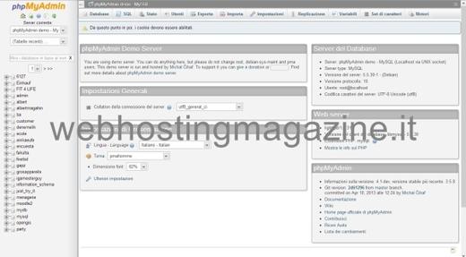 schermata iniziale di phpMyAdmin