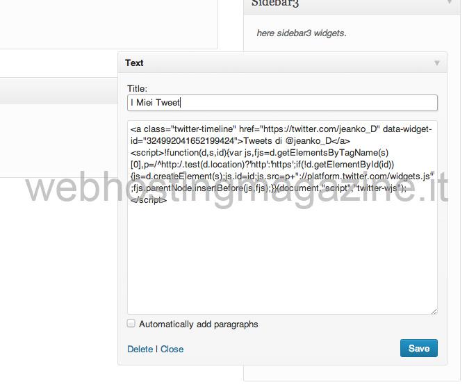 Il codice inserito in WordPress