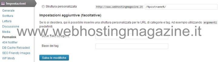 Impostazioni Permalink WordPress
