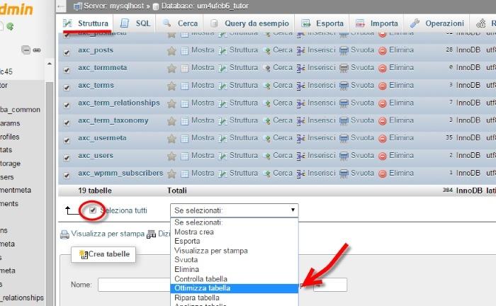 Ottimizzare il database di wordpress phpmyadmin