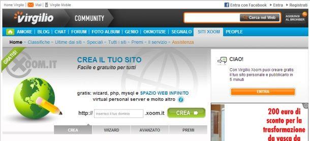 Creare un sito web con Xoom di Virgilio