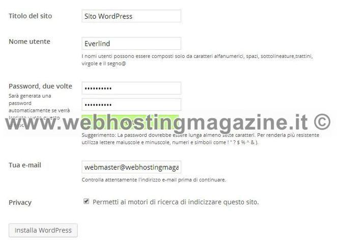 Come installare WordPress | I dati per l'installazione