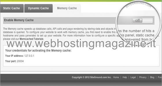 Come attivare Memcached su SiteGround