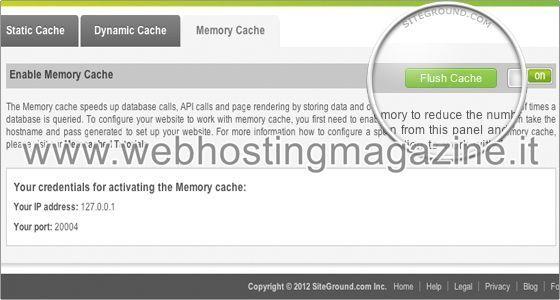 Come ripulire la cache di Memcached su SiteGround