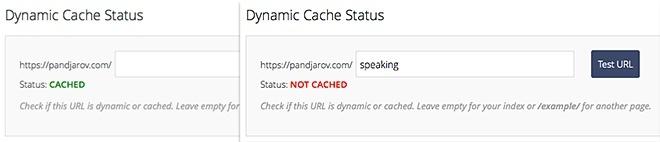 Dynamic Cache Status