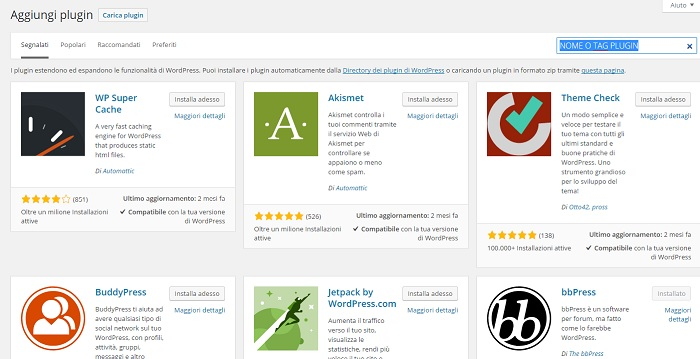 Installare un nuovo plugin su WordPress